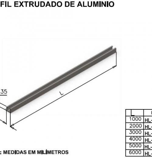 Perfil extrutado de aluminio