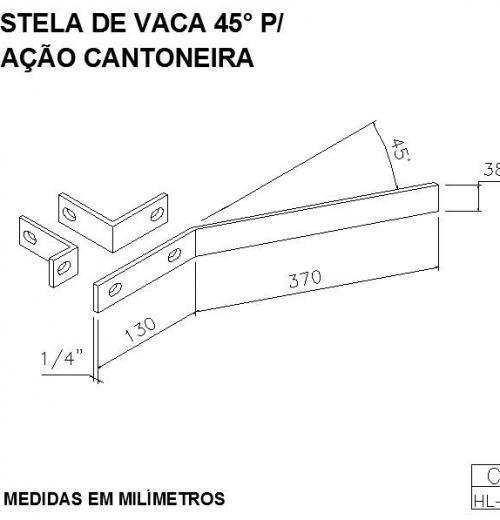 COSTELA DE VACA 45G PARA FIXAÇÃO CANTONEIRA