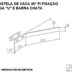 COSTELA DE VACA 45G PARA FIXAÇÃO VIGA U E BARRA CHATA