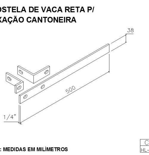 COSTELA DE VACA RETA PARA FIXAÇÃO CANTONEIRA