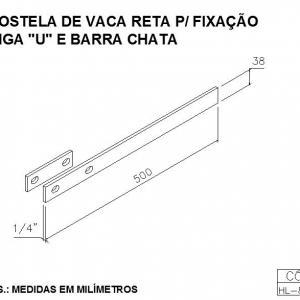 COSTELA DE VACA RETA PARA FIXAÇÃO VIGA U E BARRA CHATA