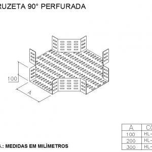 ELETROCALHAS E ACESSÓRIOS -  CRUZETA 90° PERFURADA