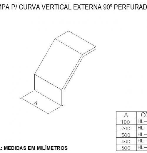 ELETROCALHAS E ACESSÓRIOS - TAMPA Para CURVA VERTICAL EXTERNA 90º PERFURADA