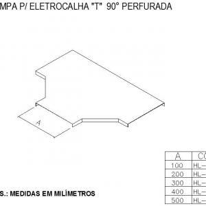 ELETROCALHAS E ACESSÓRIOS - TAMPA Para ELETROCALHA T  90° PERFURADA