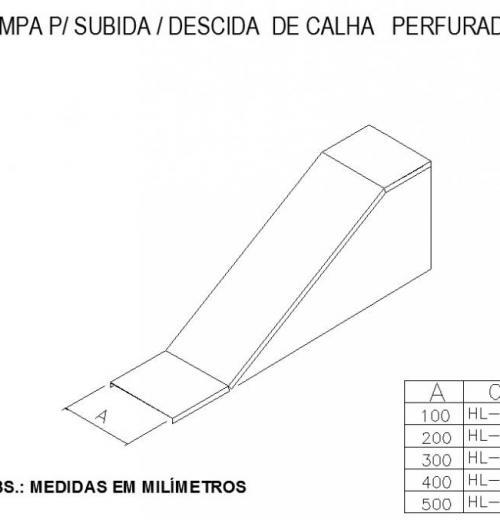 ELETROCALHAS E ACESSÓRIOS - TAMPA Para SUBIDA - DESCIDA  DE CALHA   PERFURADA