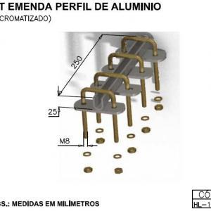 Kit emenda perfil de aluminio