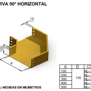 CALHAS FIBRA ÓPTICA - CURVA 90° HORIZONTAL