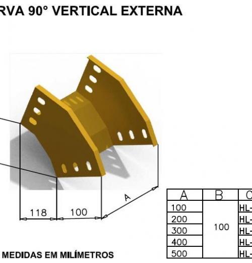 CALHAS FIBRA ÓPTICA - CURVA 90° VERTICAL EXTERNA