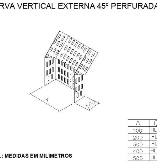 ELETROCALHAS E ACESSÓRIOS - CURVA VERTICAL EXTERNA 45º PERFURADA