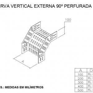 ELETROCALHAS E ACESSÓRIOS - CURVA VERTICAL EXTERNA 90º PERFURADA