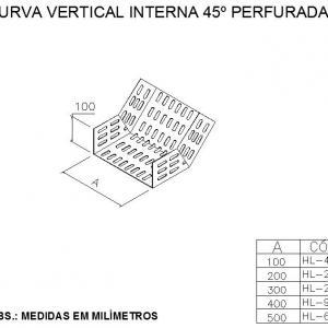 ELETROCALHAS E ACESSÓRIOS - CURVA VERTICAL INTERNA 45º PERFURADA