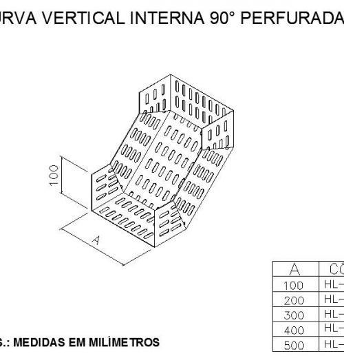 ELETROCALHAS E ACESSÓRIOS - CURVA VERTICAL INTERNA 90° PERFURADA