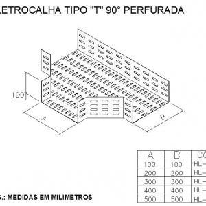 ELETROCALHAS E ACESSÓRIOS - ELETROCALHA TIPO T 90° PERFURADA
