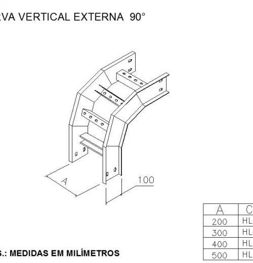LEITOS E ACESSÓRIOS - Curva Vertical Externa 90º